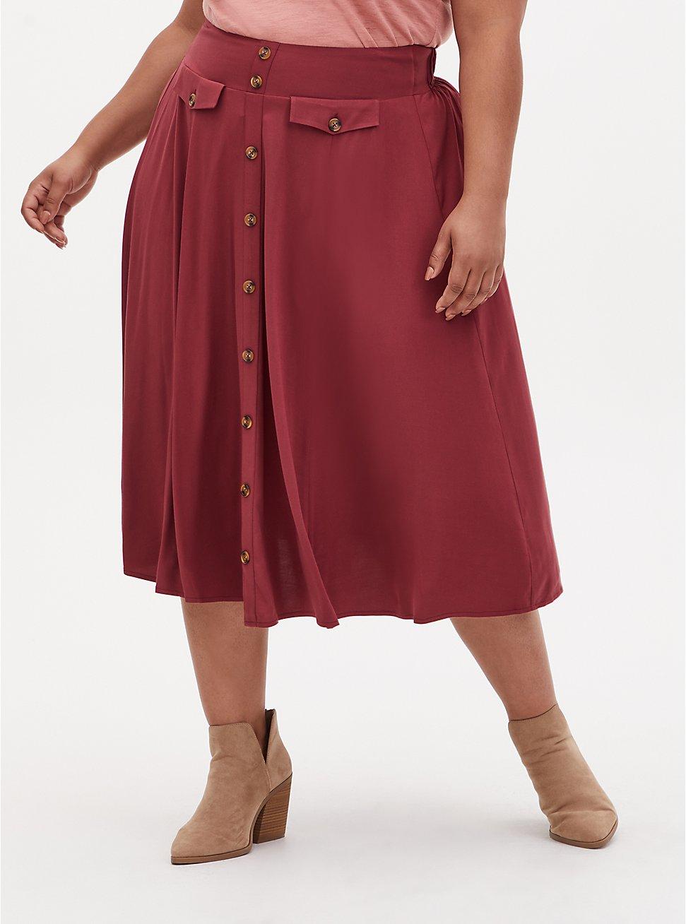 Dark Red High Waist Button Midi Skirt , CURRENT EVENTS, hi-res