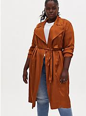 Plus Size Copper Dotted Jacquard Self Tie Trench Jacket, COPPER, alternate