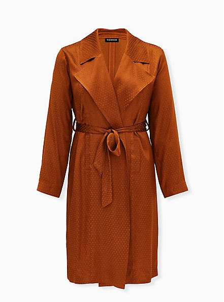 Copper Dotted Jacquard Self Tie Trench Jacket, COPPER, hi-res