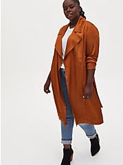 Plus Size Copper Dotted Jacquard Self Tie Trench Jacket, COPPER, hi-res