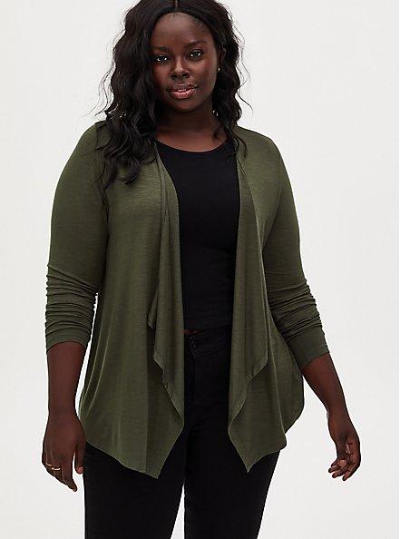 Super Soft Slub Olive Green Drape Front Cardigan, DEEP DEPTHS, hi-res