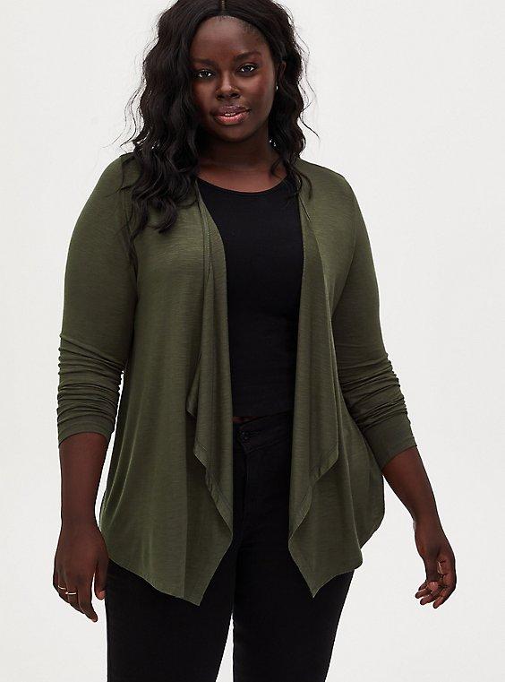 Super Soft Slub Olive Green Drape Front Cardigan, , hi-res