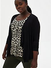 Plus Size Super Soft Slub Black Drape Front Cardigan, DEEP BLACK, hi-res