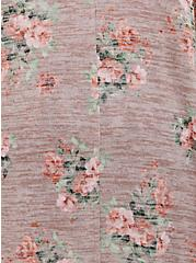 Taupe Floral Hacci Hi-Lo Kimono, FLORAL - RED, alternate