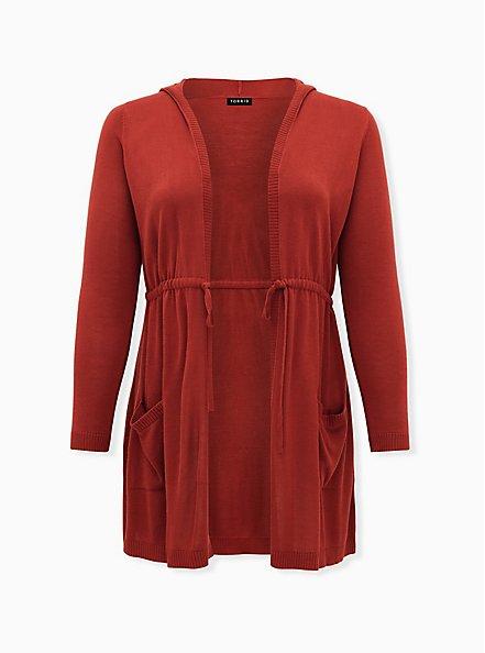 Red Terracotta Drawstring Hooded Cardigan, TANDOORI SPICE, hi-res