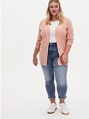 Peach Slub Boyfriend Button Front Cardigan, PEACH BEIGE, alternate