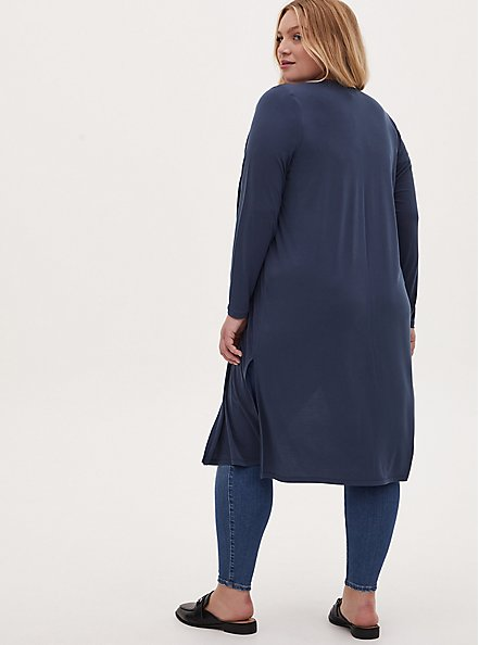 Plus Size Navy Studio Knit Open Front Longline Cardigan, MIDNIGHT NAVY, alternate