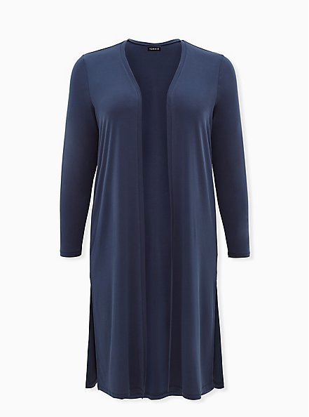 Plus Size Navy Studio Knit Open Front Longline Cardigan, MIDNIGHT NAVY, hi-res