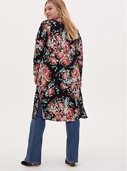 Plus Size Black Floral Studio Knit Open Front Longline Cardigan, FLORAL - BLACK, alternate