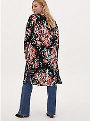Black Floral Studio Knit Open Front Longline Cardigan, FLORAL - BLACK, alternate