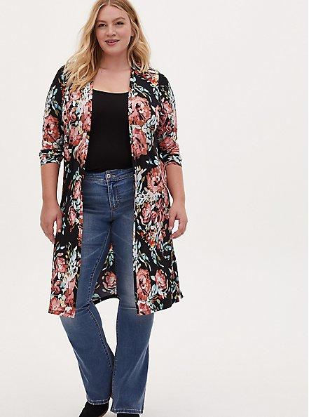Plus Size Black Floral Studio Knit Open Front Longline Cardigan, FLORAL - BLACK, hi-res