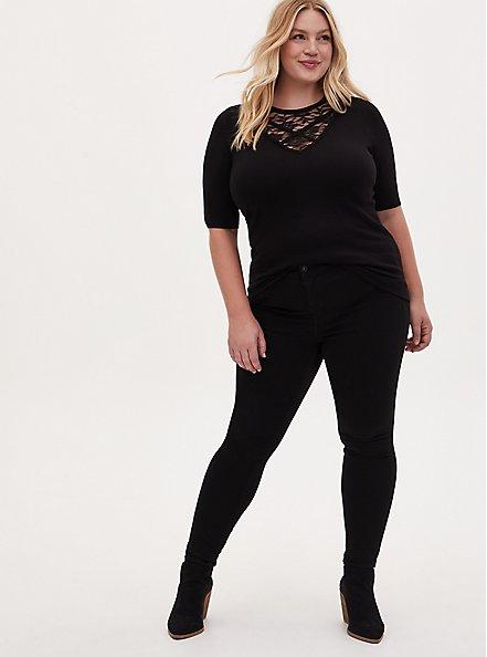 Black Sweater Knit Lace Inset Top, DEEP BLACK, alternate