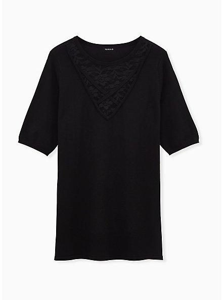 Black Sweater Knit Lace Inset Top, DEEP BLACK, hi-res