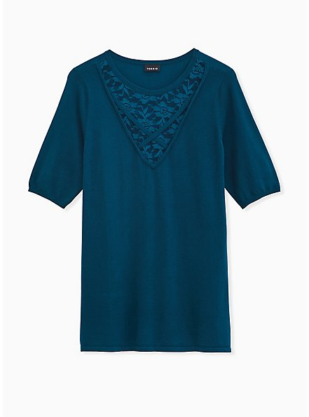 Teal Sweater Knit Lace Inset Top, TEAL, hi-res