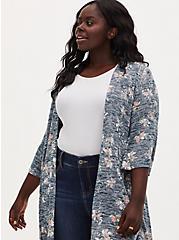 Navy Floral Hacci Hi-Lo Kimono, FLORAL - TEAL, alternate