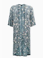 Navy Floral Hacci Hi-Lo Kimono, FLORAL - TEAL, hi-res