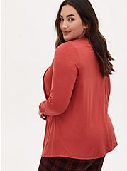 Super Soft Slub Red Terracotta Drape Front Cardigan, TANDOORI SPICE, alternate