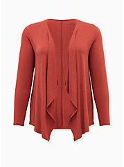 Super Soft Slub Red Terracotta Drape Front Cardigan, TANDOORI SPICE, hi-res
