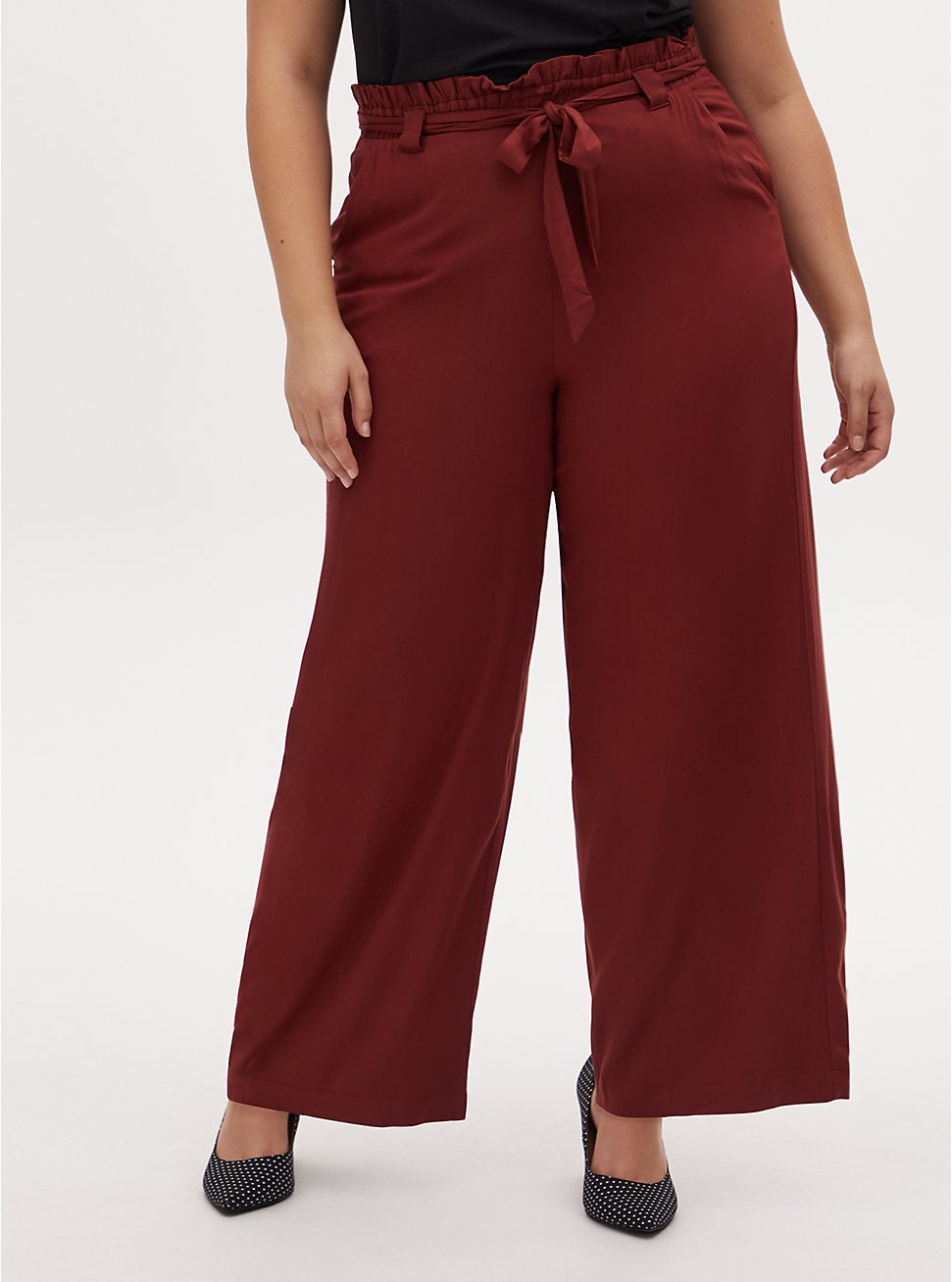 Rust Red Twill Self Tie Paperbag Waist Wide Leg Pant, BROWN, hi-res