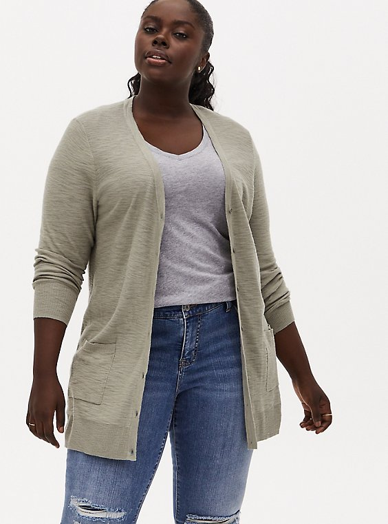 Plus Size Sage Green Slub Boyfriend Button Front Cardigan, , hi-res