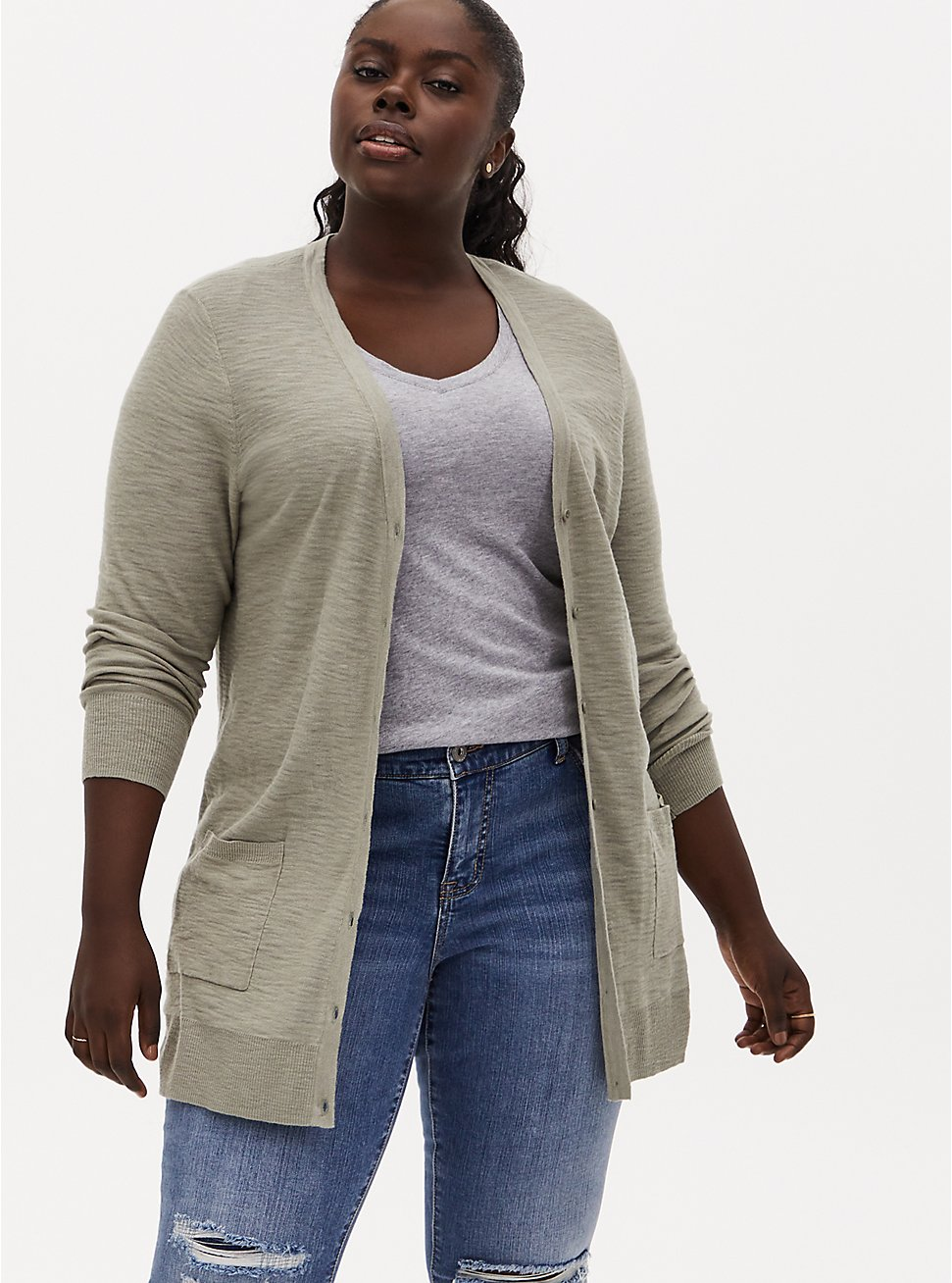 Plus Size Sage Green Slub Boyfriend Button Front Cardigan, SEAGRASS, hi-res