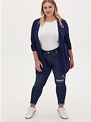 Navy Slub Boyfriend Button Front Cardigan, MEDIEVAL BLUE, alternate