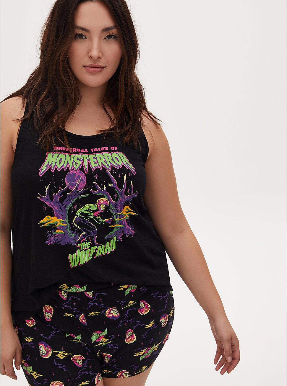Universal Monster's Wolfman Black Racerback Sleep Tank, DEEP BLACK, hi-res