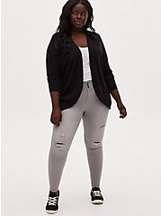 Black Slub Curved Open Front Cardigan, DEEP BLACK, alternate