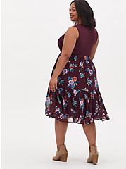 Burgundy Purple Floral Knit to Woven Shirred Hem Midi Dress , FLORAL - PURPLE, alternate