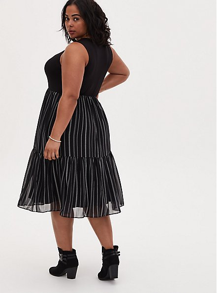 Black & White Geo Stripe Knit to Woven Shirred Hem Midi Dress , STRIPE -BLACK, alternate