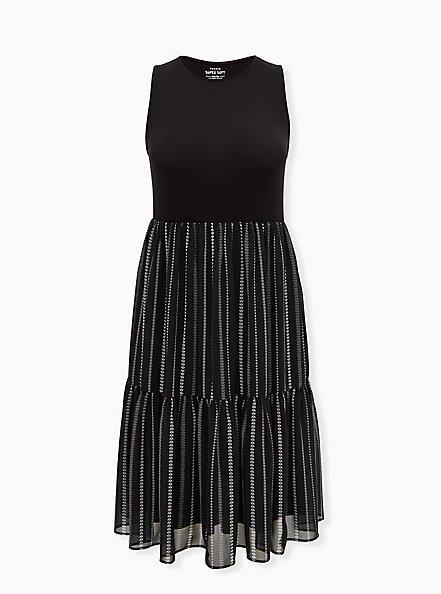 Black & White Geo Stripe Knit to Woven Shirred Hem Midi Dress , STRIPE -BLACK, hi-res