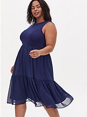 Navy Knit to Woven Shirred Hem Midi Dress , MEDEVIAL BLUE, alternate