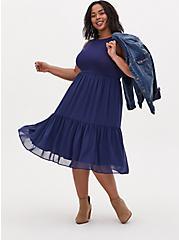 Navy Knit to Woven Shirred Hem Midi Dress , MEDEVIAL BLUE, hi-res