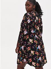 Black Floral Challis Zip Front Drawstring Shirt Dress, FLORAL - BLACK, alternate