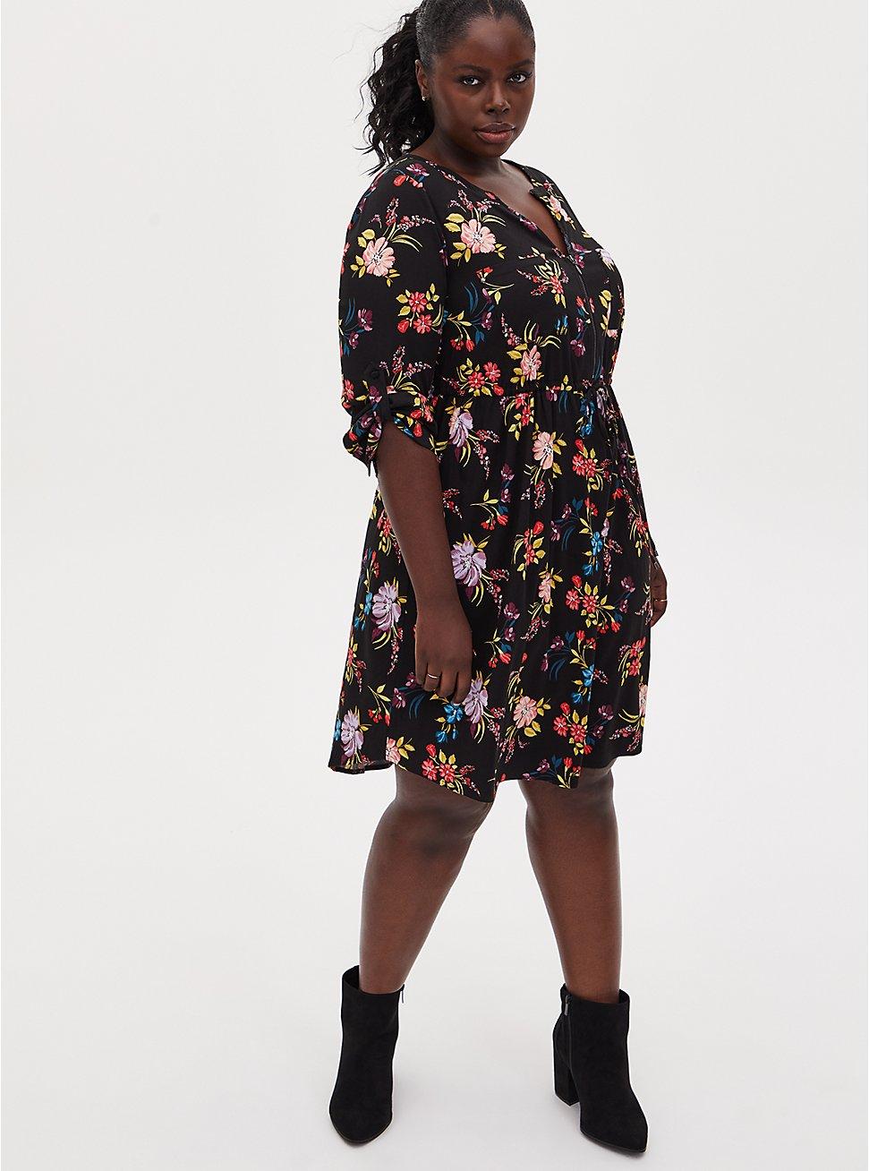 Black Floral Challis Zip Front Drawstring Shirt Dress, FLORAL - BLACK, hi-res