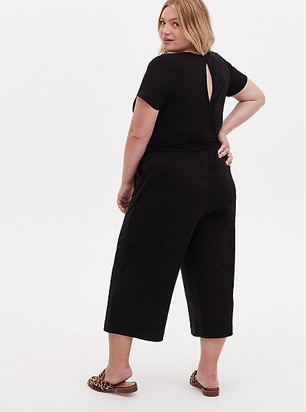 Black Rib Twist Front Self Tie Culotte Jumpsuit , DEEP BLACK, alternate