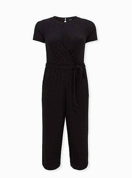 Black Rib Twist Front Self Tie Culotte Jumpsuit , DEEP BLACK, hi-res
