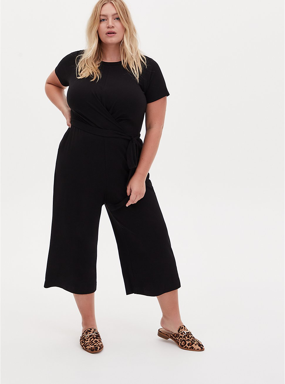Black Rib Twist Front Self Tie Culotte Jumpsuit , DEEP BLACK, hi-res