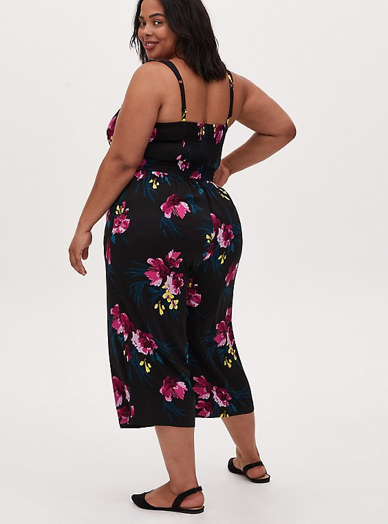 Black Floral Challis Button Culotte Jumpsuit , , hi-res