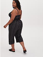 Plus Size Black Stripe Challis Button Culotte Jumpsuit , STRIPE -BLACK, alternate