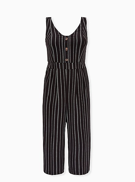 Black Stripe Challis Button Culotte Jumpsuit , STRIPE -BLACK, hi-res