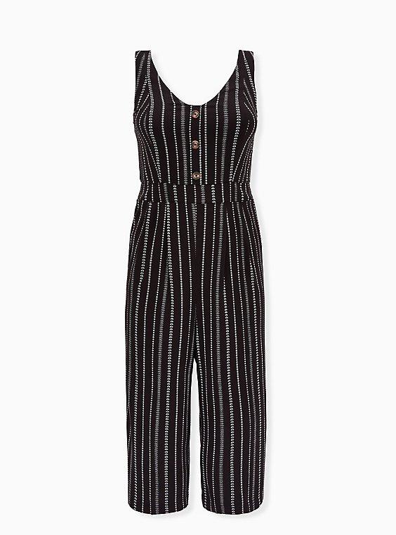 Black Stripe Challis Button Culotte Jumpsuit , , flat
