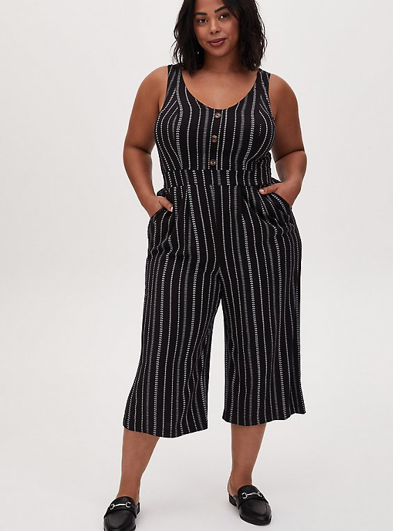 Plus Size Black Stripe Challis Button Culotte Jumpsuit , , hi-res