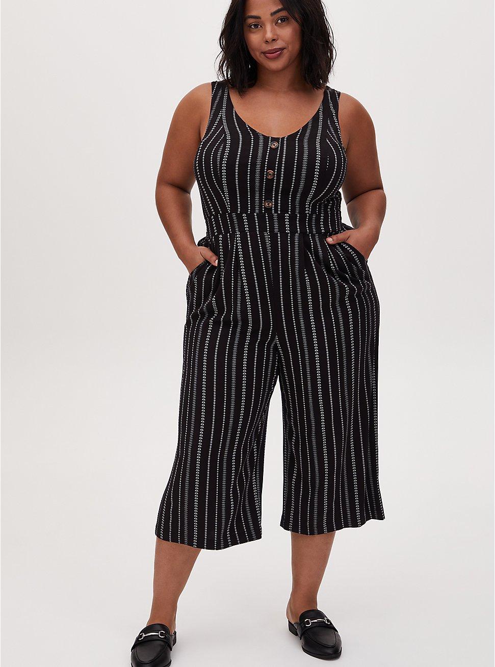 Black Stripe Challis Button Culotte Jumpsuit , STRIPE -BLACK, hi-res