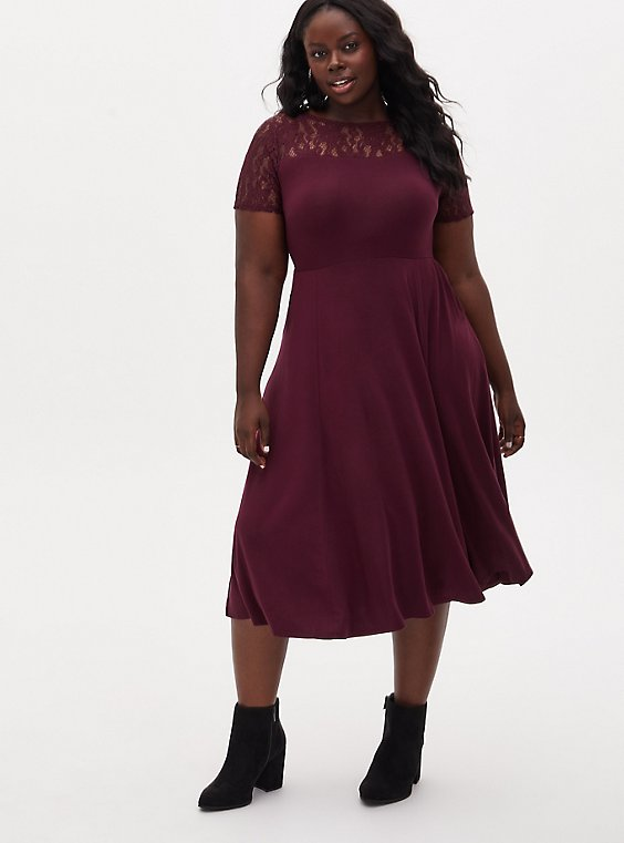 Super Soft & Lace Burgundy Purple Midi Dress, WINETASTING, hi-res