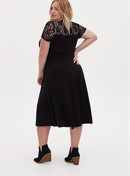 Super Soft Black Lace Inset Midi Dress, DOT -BLACK, alternate