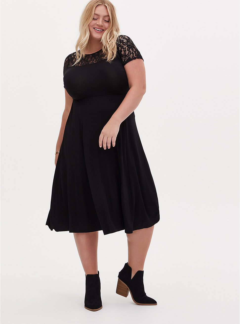 Super Soft Black Lace Inset Midi Dress, DOT -BLACK, hi-res