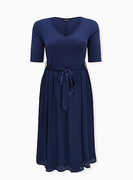 Navy Knit to Woven Self Tie Midi Dress, MEDEVIAL BLUE, hi-res