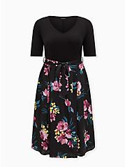 Black Floral Knit to Woven Self Tie Midi Dress , FLORAL - BLACK, hi-res