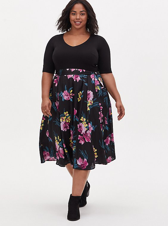 Black Floral Knit to Woven Self Tie Midi Dress , , hi-res